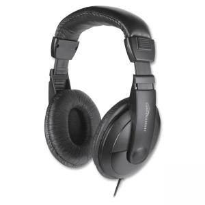 Compucessory Cushion Stereo Headphones w/Vol Cntrl - Stereo - Black - Mini-phone - Wired - 32 Ohm - 20 Hz 20 kHz - Over-the-head