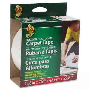 "Duck Indoor/Outdoor Double-Sided Carpet Tape - 1.88"" Width x 75 ft Length - Fiberglass - Adhesive, Permanent - 1 Roll - White"