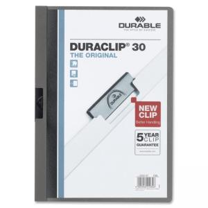 "Visifix Durable DURACLIP Report Cover - Letter - 8.50"" x 11\"" - 30 Sheet - Vinyl - Graphite, Clear - 1 Each"