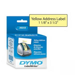 "Dymo 30255 Address Labels - Yellow 1 Box 1.12"" Width x 3.50"" Length"