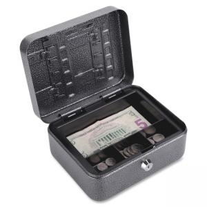 FireKing CB0806 Locking Convertible Cash Key Box - Key Lock Bolt(s) - Silver, Black