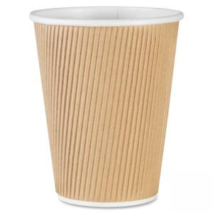 Genuine Joe Ripple Hot Cups - 12 oz - 500/Carton - Brown