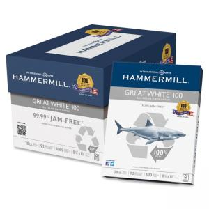 "International Paper Hammermill Great White Copy & Multipurpose Paper - Letter - 8.50"" x 11\"" - 20 lb - Recycled - Smooth - 92 B"