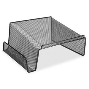 "Lorell Angled Height Mesh Phone Stand - 11.1"" x 10.1\"" x 5.3\"" - Steel - 1 Each - Black"