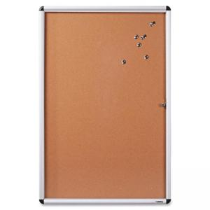"Lorell Enclosed Cork Bulletin Board - 36"" Height x 48"" Width - Natural Cork Surface - Aluminum Aluminum Frame"