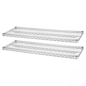 "Lorell Indust Wire Shelving Starter Extra Shelves - 48"" Width x 18"" Depth - Steel - Chrome"