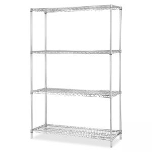 "Lorell Industrial Chrome Wire Shelving Starter Kit - 48"" Width x 18"" Depth - Steel - Chrome"