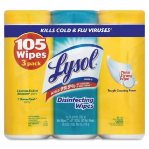 Airwick Lysol Disinfecting Wipes Triple Pk - Wipe - Lemon, Lime Scent - 105 - White