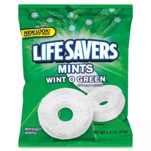 Marjack Mars Flavia Life Savers Wintergreen Hard Candies - Wint-O-Green - Individually Wrapped - 6.25 oz - 1 / Pack