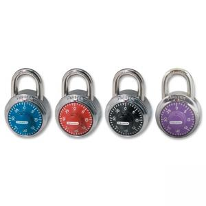Master Lock Colored Dial Combination Padlock - 3 Digit - Stainless Steel Body, Steel Shackle - Black, Red, Purple, Blue