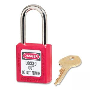Master Lock Safety Keyed Padlock - Steel Shackle, Xenoy Body - Red