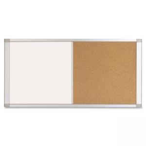 "Bi-silque MasterVision Ultra Dry-erase Cork Board Combo - 36"" Width x 18\"" Height - White Cork Surface - Silver Aluminum Frame"