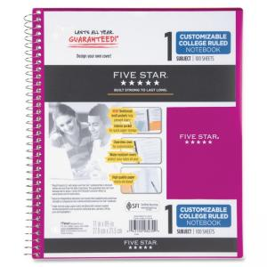 "Mead Five Star Customizable College Ruled Notebook - 1 Subject - 100 Sheet - College Ruled - Letter 8.50"" x 11\"" - 1 Each - Whi"