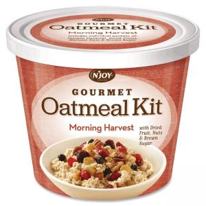 Sugar Foods Njoy Gourmet Morning Harvest Oatmeal - Resealable Lid, Individually Wrapped - Mixed Fruit, Mixed Nut, Brown Sugar, M