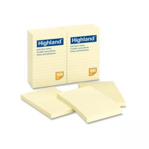 "3M Highland Highlighted Notes - Yellow 12 / Pack 4"" Width x 6"" Length"