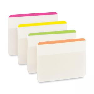 3M Post-it Durable Flat File Tab - 24 / Pack - Assorted Colors
