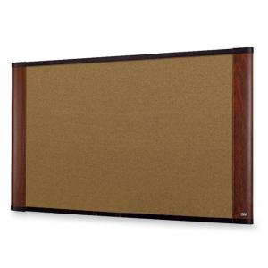 "3M Wide-screen Style Bulletin Board - 36"" x 48""  Mahogany"