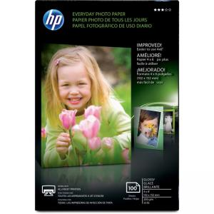 "Compaq/HP Everyday Photo Paper - For Inkjet Print - 4"" x 6"" - 200 g/m2 - Glossy - 100/Pack - White"