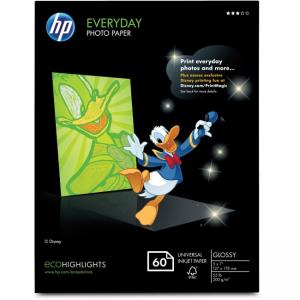 "Compaq/HP Everyday Photo Paper - For Inkjet Print - Photo Paper - 5"" x 7"" - 53 lb - Glossy - 1/Pack - White"