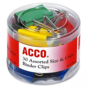 Acco Colored Binder Clips - Assorted Colors 30 / Pack