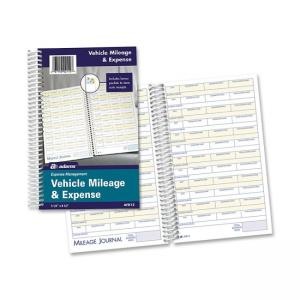 "Adams Vehicle Mileage/Expense Journal Pocket - White 8.50"" Length x 5.50"""