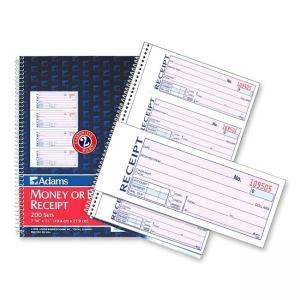 "Adams Wire Bound Money/Rent Receipt Books - 2.75"" Length x 7.62"" Width"