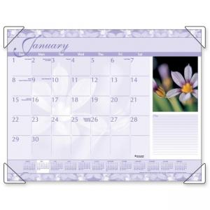 Visual Organizer Antique Floral Desk Pad Calendar - Monthly
