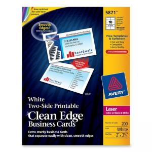 "Avery Clean Edge Laser Business Cards  - 3.50"" x 2"" - White - 200 / Pack"