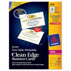 Avery Clean Edge Laser Business Cards - Ivory - 200 / Pack