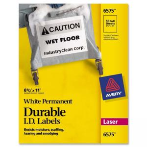 Avery 6575 Permanent Durable I.D. Labels - 50 / Box - White