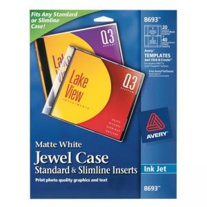 Avery CD Jewel Case Inserts - 40 / Pack - White