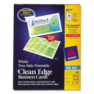 Avery InkJet Clean Edge Business Cards - White - Matte  - 400 / Box