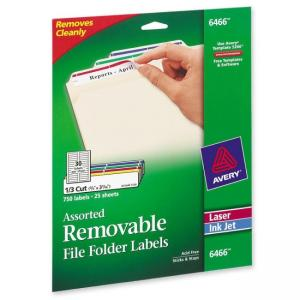 Avery Assorted Colors Removable Filing Labels - 750 / Pack
