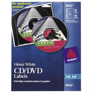 Avery Inkjet CD/DVD Labels, Glossy White, 20/Pack