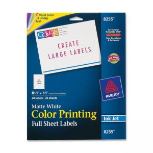 Avery Color Printing Labels - White - 20 / Pack