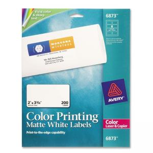 Avery Color Printing Label - 200 / Pack - White