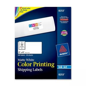 Avery Color Printing Labels - 200 Labels - White