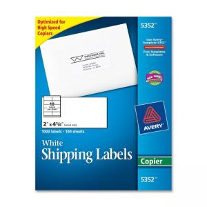 Avery Copier Mailing Label - 1000 / Box - White