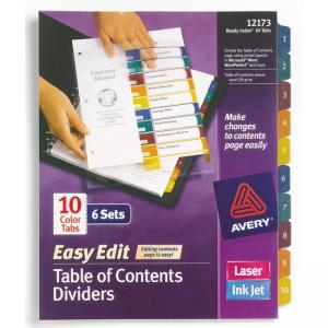 Avery Easy Edit Index Divider - 6 / Pack - Multicolor