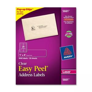 Avery Easy Peel Mailing Labels - 1000 / Box - Bright White