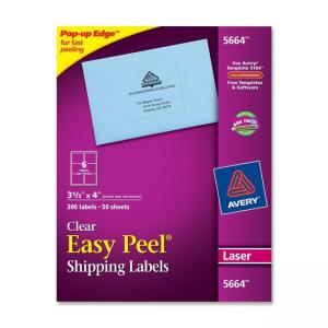 Avery Easy Peel Mailing Labels - 300 / Box - Bright White