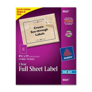 Avery Easy Peel Mailing Labels - 25 / Pack - Clear