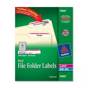 Avery Filing Labels - 1500 / Box - Red