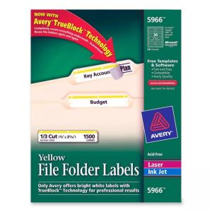 Avery Filing Labels - 1500 / Box - Yellow