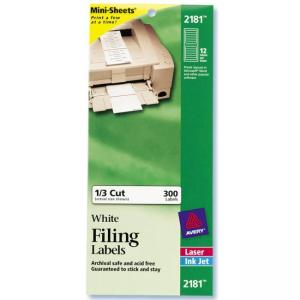 Avery Filing Mini-Sheet Labels - White - 300 / Pack