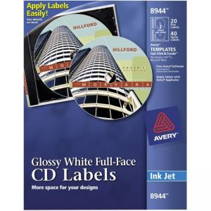 Avery Full Face inkjet CD Labels 40 / Pack - White