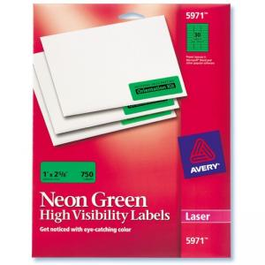 Avery High Visibility Laser Labels -  750 / Pack - Neon Green