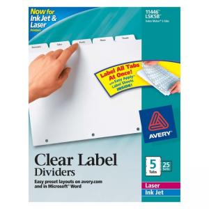 Avery Index Maker Clear Label Divider - 5 x Tab Blank - 25 / Box