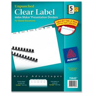 Avery Index Maker Clear Label Divider - 5 x Tab Blank