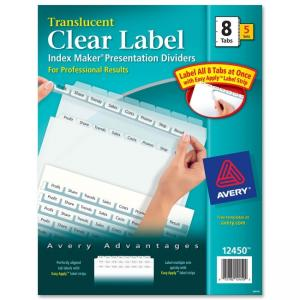 Avery Index Maker Easy Apply Clear Label Divider - 8 x Tab Blank - Clear Tab